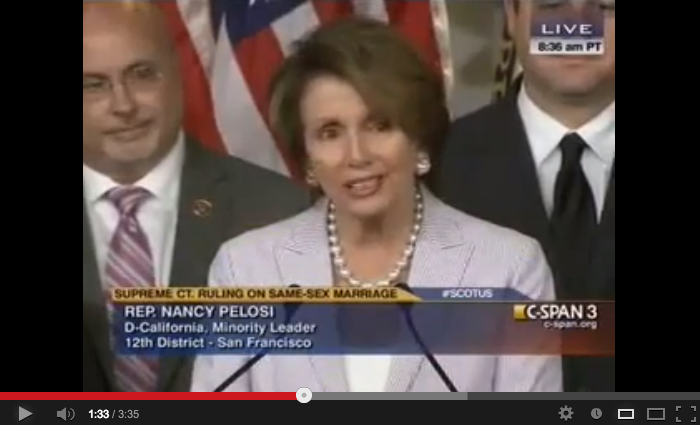 video of Nancy Pelosi speaks on Prop 8/DOMA cases